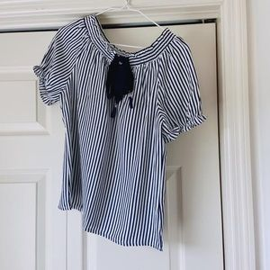 Navy and White Stripe Bow Tie Blouse